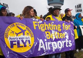 Low-wage workers demonstrate at New York City's Kennedy Airport