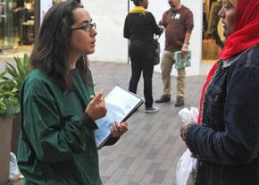 Canvassers talk to pedestrians about Greenpeace
