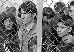 Arrested refugees at Fylakio detention center in Evros, Greece