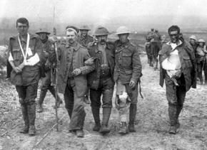 British soldiers wounded in battle during the First World War