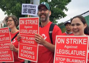 Seattle teachers on the picket line during a one-day strike in May 2015