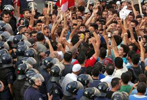 Anti-government demonstrators in the streets of Beirut