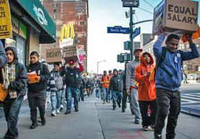 B&H Photo Video workers picket outside a store