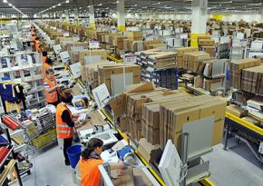 At work in a massive Amazon warehouse