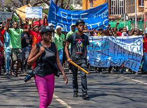 South African students march in Pretoria against a huge tuition hike
