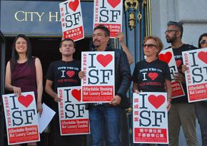Rallying for the affordable housing measure Prop I in San Francisco