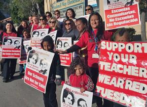 UTLA members on the picket line against school privatization