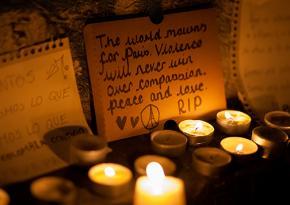 A memorial to victims of the terrorist attack in Paris at the Place de la République
