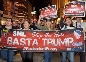 Protesting Donald Trump's hosting of Saturday Night Live