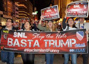 Protesting Donald Trump's hosting of Saturday Night Live