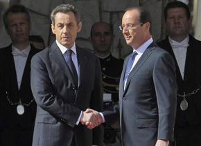 France's Nicolas Sarkozy and François Hollande