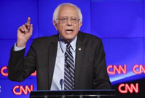 Bernie Sanders joins fellow Democratic presidential contestants in a debate