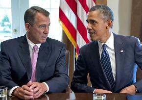 John Boehner at a White House meeting with Barack Obama