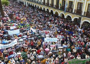 A mass protest in Cochabamba, Bolivia, against a 200 percent increase in water bills