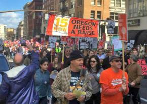 Marching for a $15 an hour minimum wage in Portland, Oregon