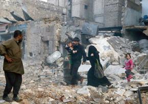 A family flees devastation in Syria
