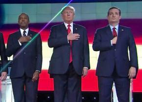 Republican presidential contenders Ben Carson, Donald Trump and Ted Cruz
