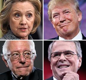 Clockwise from top left: Hillary Clinton, Donald Trump, Jeb Bush and Bernie Sanders