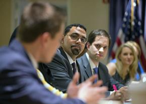 Teachers meet with Education Secretary John King (center, with glasses) for a roundtable discussion