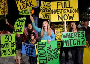 Protesters call for action to stop the massive methane leak