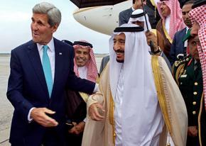 Secretary of State John Kerry escorts Saudi King Salman on a visit to the U.S.