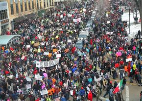 More than 15,000 immigrant rights supporters packed the streets around the Wisconsin Capitol building