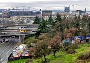 Seattle's Nickelsville homeless encampment in the shadow of downtown