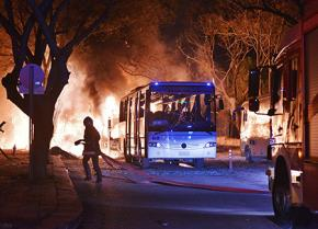 Fires rage following the car bombing in Ankara
