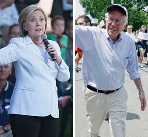 Hillary Clinton and Bernie Sanders campaign in Iowa