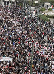 Greek workers fill the streets during the February 4 general strike
