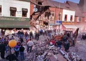 Aftermath of the 1993 bombing of Frizzell's fish shop in Belfast