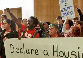 Portland housing and living wage activists join together in protest at the Capitol