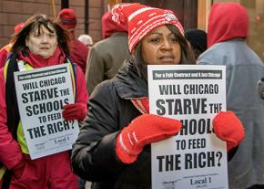 CTU members march against budget cuts that make students pay for the bankers' greed