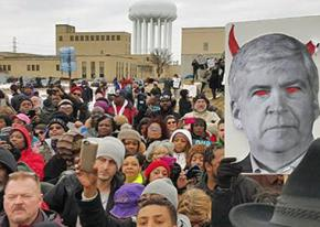 Flint residents protest Gov. Rick Snyder and the poisoning of their city