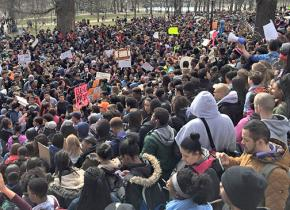 Boston high school students participate in a mass walkout against cuts
