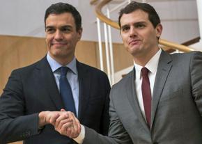PSOE's Pedro Sánchez (left) and Albert Rivera of Ciudadanos