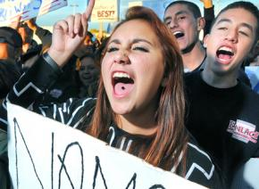 High school students on the march against standardized testing