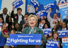 Hillary Clinton speaking to supporters in Seattle