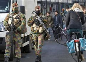 Soldiers on the streets of Brussels following the suicide bombings