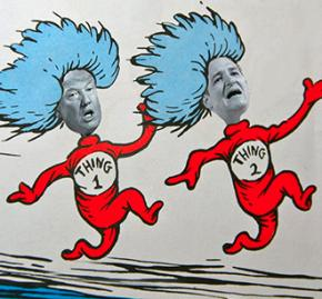 Donald Trump and Ted Cruz as Thing 1 and Thing 2