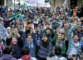 Syrians in Aleppo raise their voices against the regime during a brief and partial ceasefire