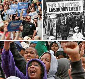 Clockwise from top left: Bernie Sanders rally; the Minneapolis Teamsters strike; a Black Lives Matter protest
