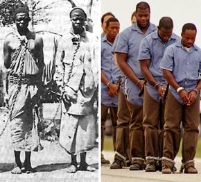 Left, slaves in chains; right, prisoners in chains