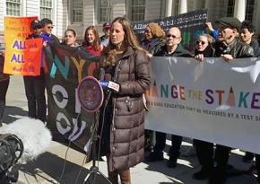 Representatives of NYC Opt Out and other education justice groups speak at a press conference