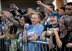 Supporters cheer Bernie Sanders at a campaign event in Phoenix