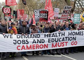 Tens of thousands march against David Cameron and his austerity agenda