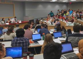 Supporters of OSU Divest attend a student government meeting