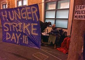 The site of a hunger strike against police violence in San Francisco's Mission District