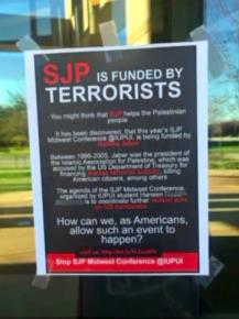 Flyers at Indiana University-Purdue University Indianapolis targeted a member of Students for Justice in Palestine