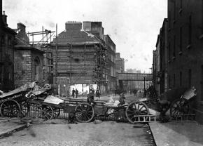 Barricades set up to defend Dublin as the British attack during the Easter Rising